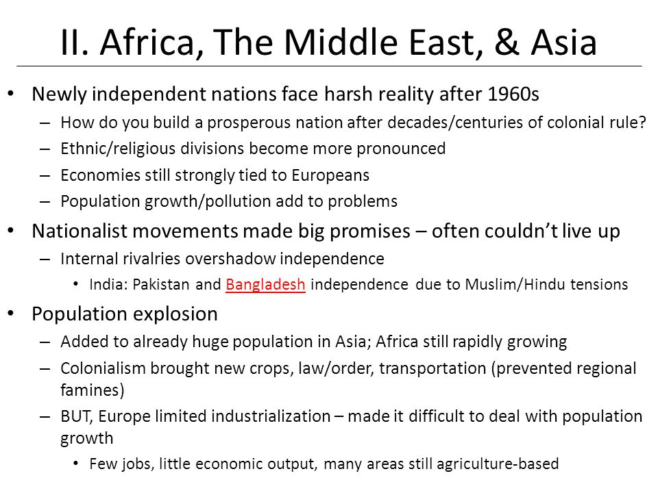 II. Africa, The Middle East, & Asia