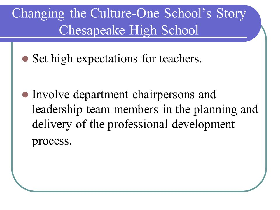 Changing the Culture-One School's Story Chesapeake High School