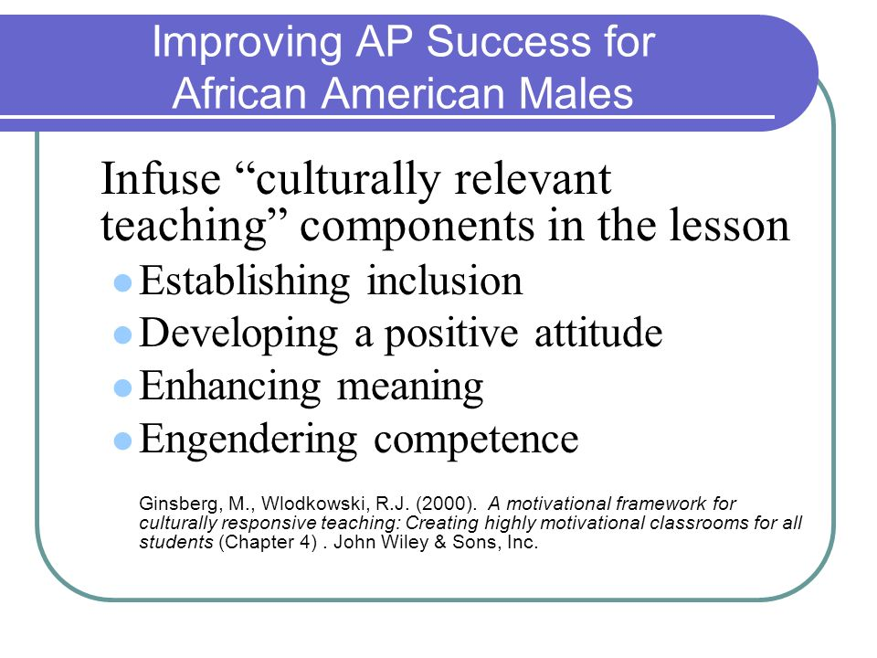 Improving AP Success for African American Males