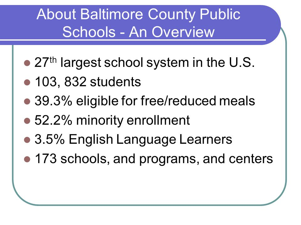 About Baltimore County Public Schools - An Overview