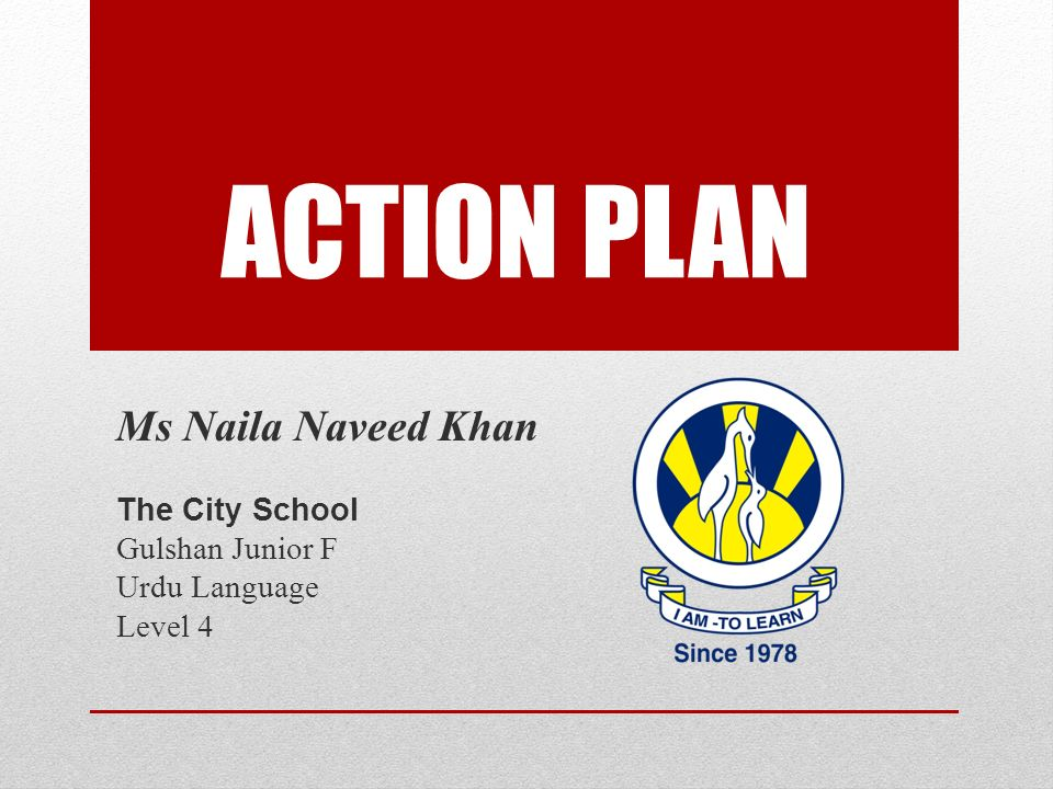 ACTION PLAN Ms Naila Naveed Khan The City School Gulshan Junior F