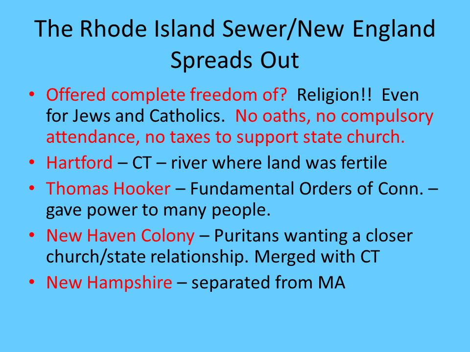 The Rhode Island Sewer/New England Spreads Out