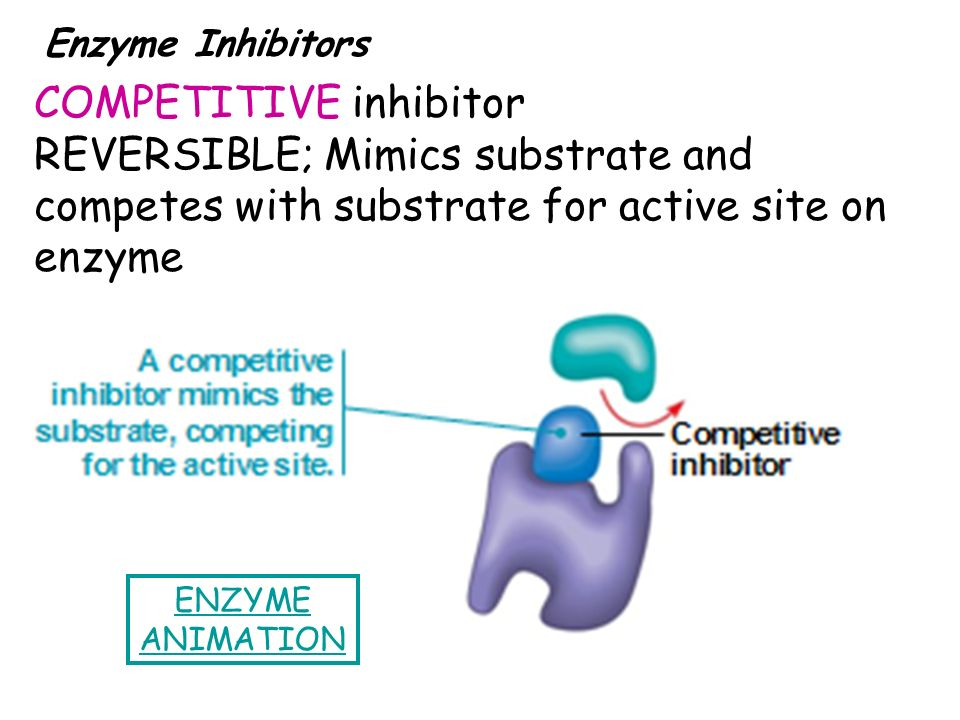 Enzyme Inhibitors COMPETITIVE inhibitor REVERSIBLE; Mimics substrate and competes with substrate for active site on enzyme.