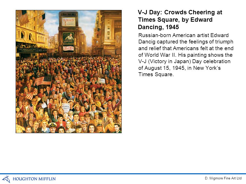 V-J Day: Crowds Cheering at Times Square, by Edward Dancing, 1945