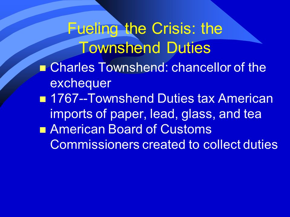 Fueling the Crisis: the Townshend Duties