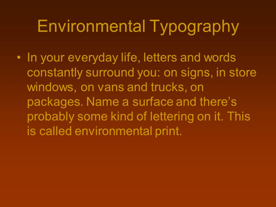 Environmental Typography