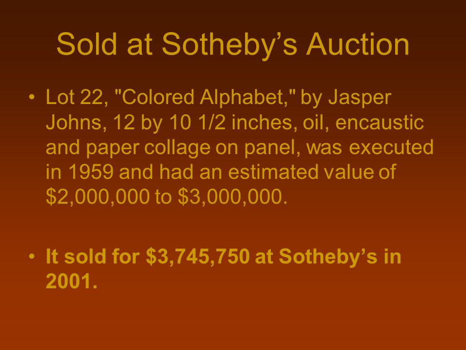 Sold at Sotheby's Auction