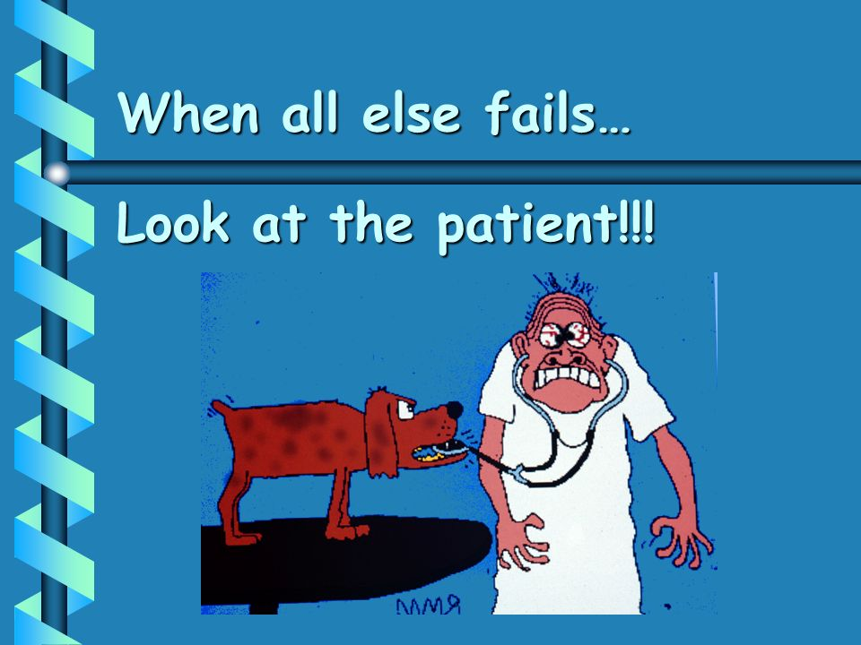 When all else fails… Look at the patient!!!