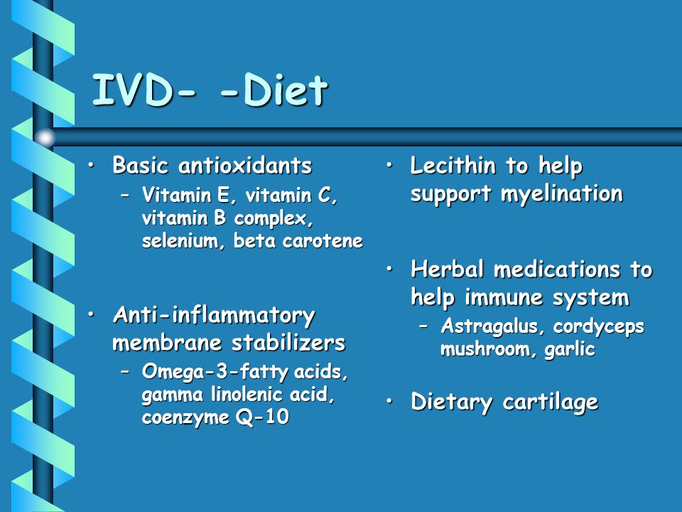 IVD- -Diet Basic antioxidants Anti-inflammatory membrane stabilizers