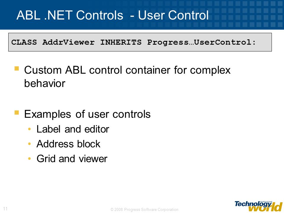ABL .NET Controls - User Control