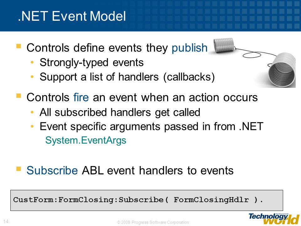 .NET Event Model Controls define events they publish