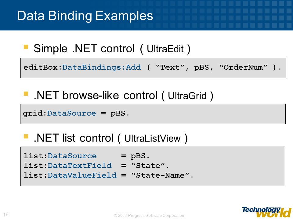 Data Binding Examples Simple .NET control ( UltraEdit )