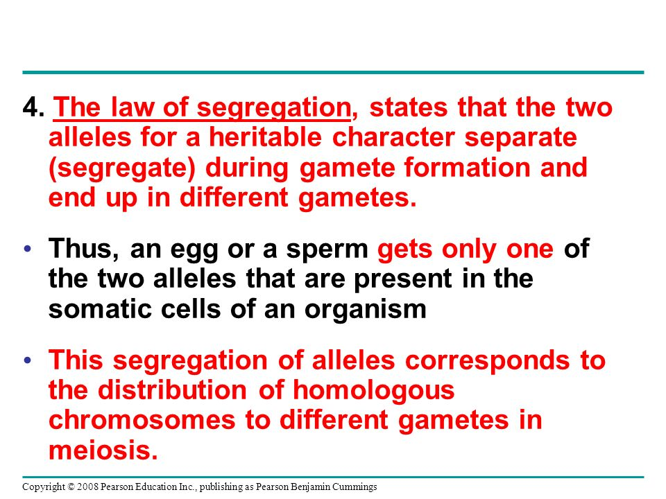 4. The law of segregation, states that the two alleles for a heritable character separate (segregate) during gamete formation and end up in different gametes.