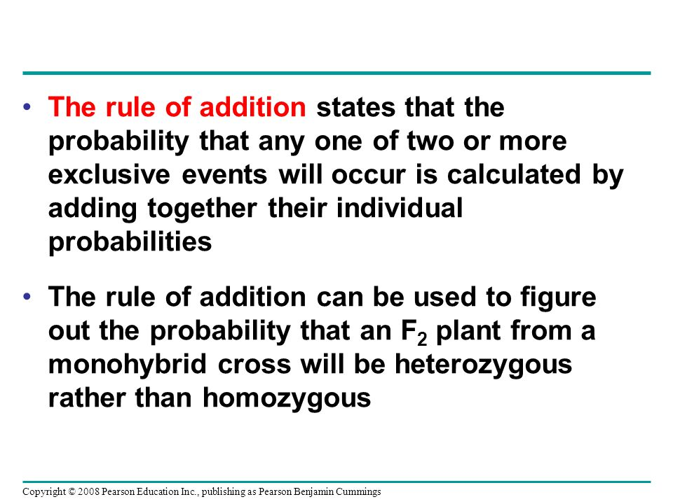 The rule of addition states that the probability that any one of two or more exclusive events will occur is calculated by adding together their individual probabilities