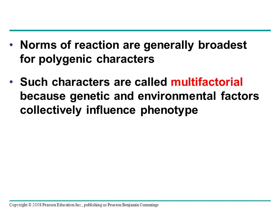 Norms of reaction are generally broadest for polygenic characters