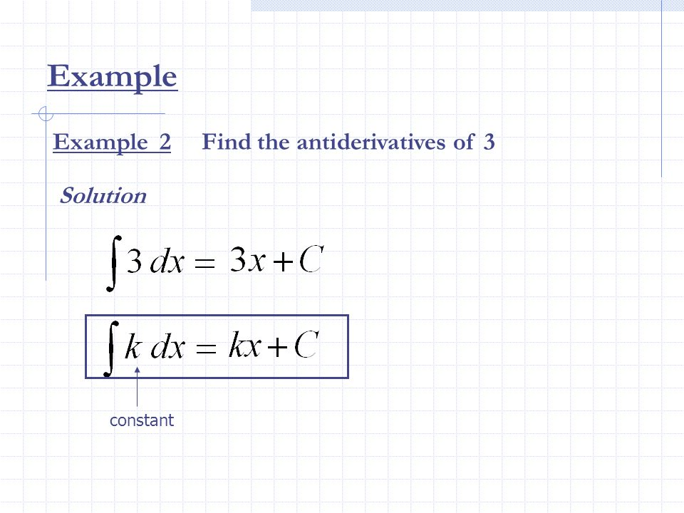 Example Example 2 Find the antiderivatives of 3 Solution constant