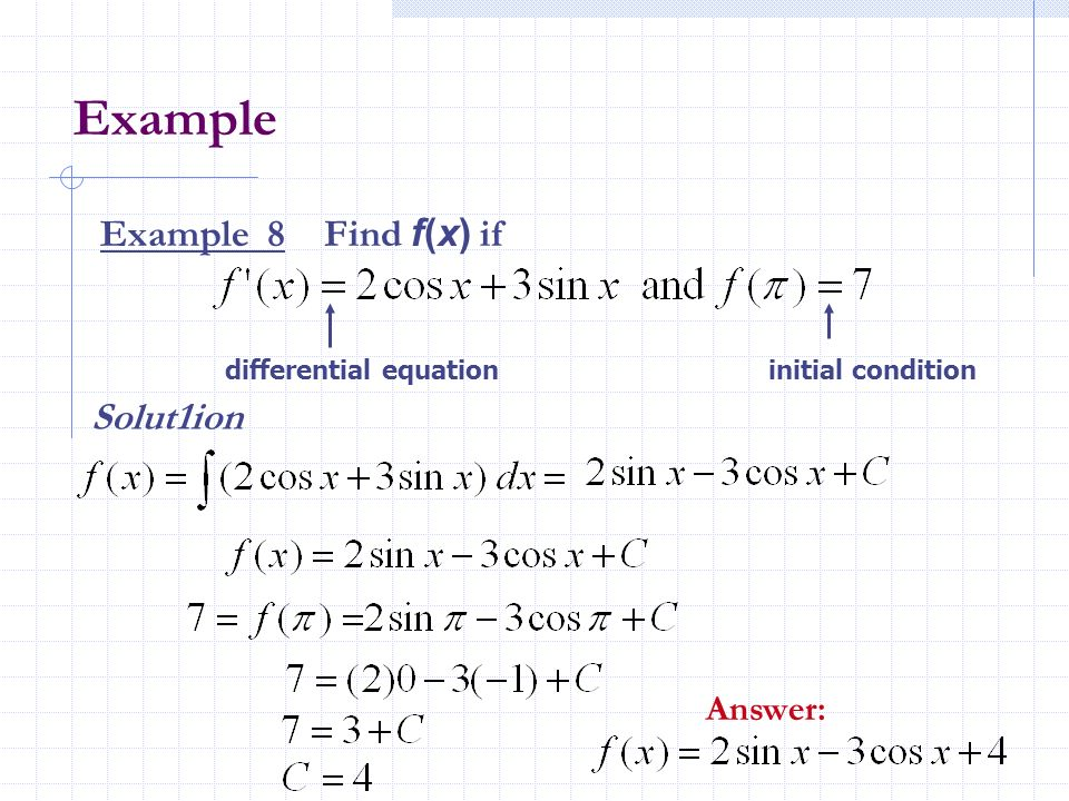 Example Example 8 Find f(x) if Solut1ion Answer: differential equation