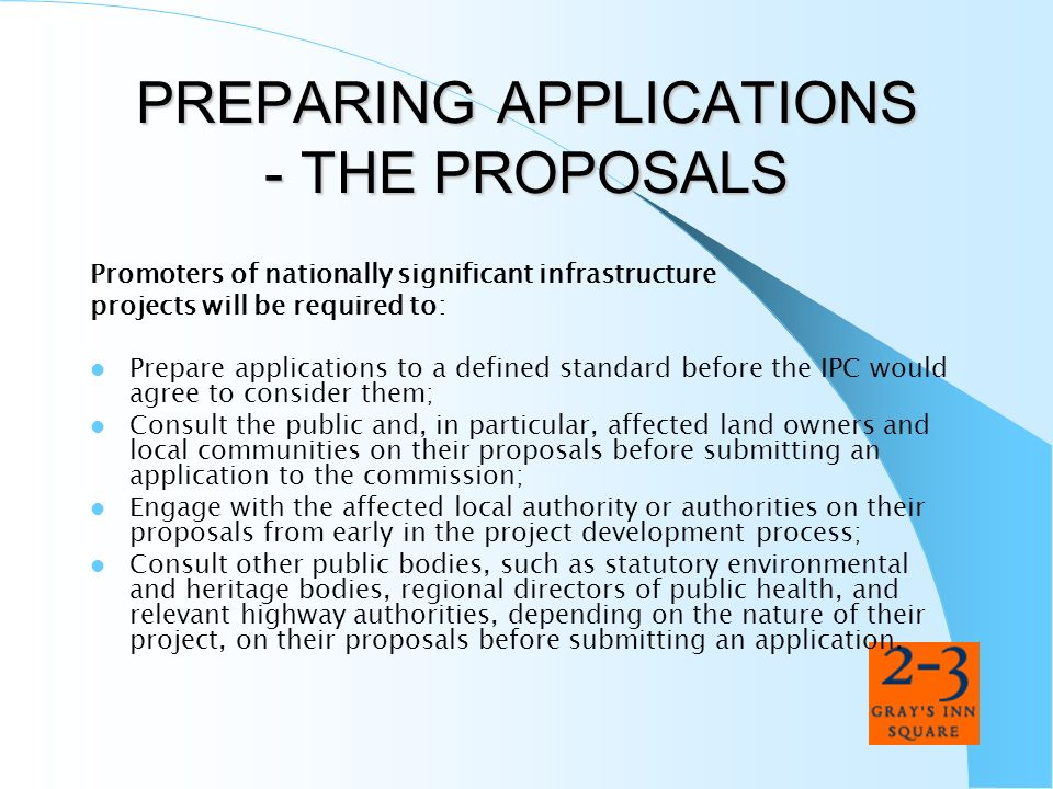 PREPARING APPLICATIONS - THE PROPOSALS