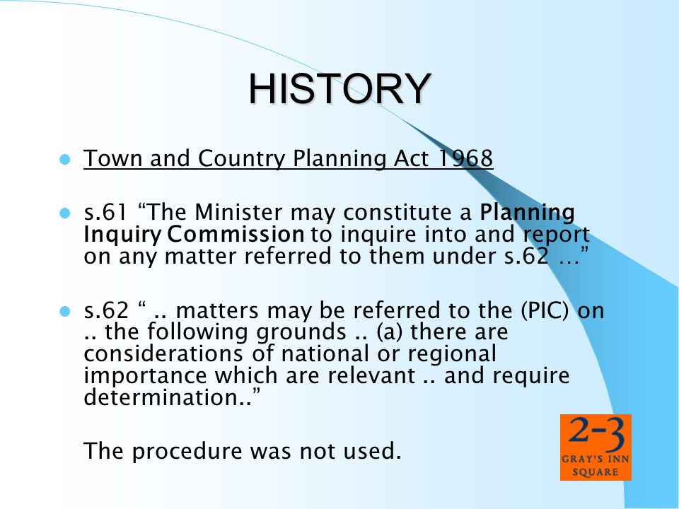 HISTORY Town and Country Planning Act 1968
