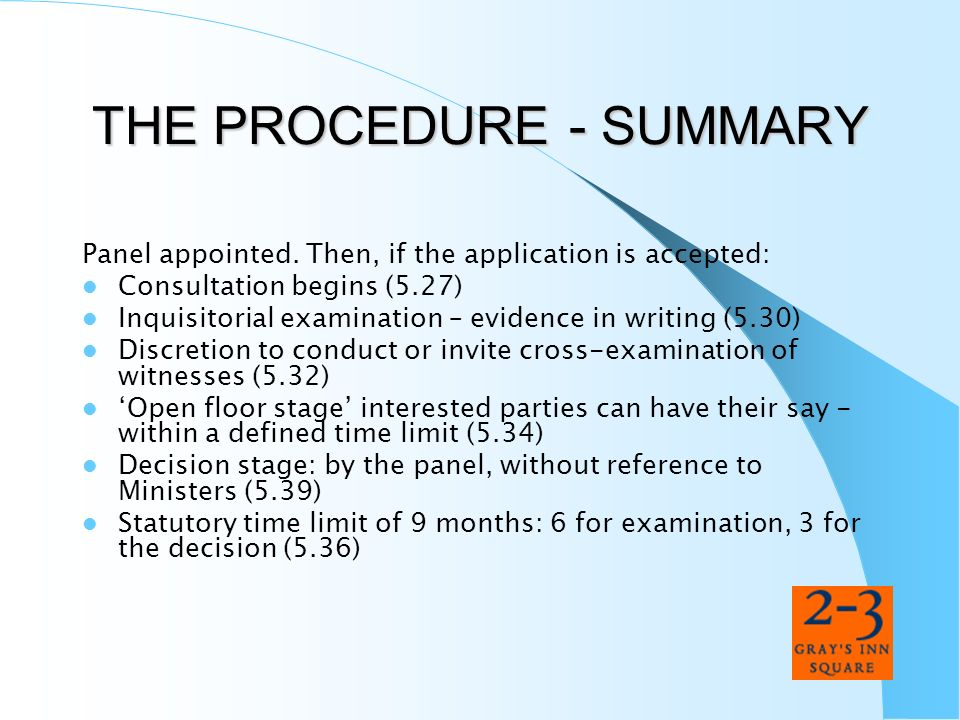 THE PROCEDURE - SUMMARY