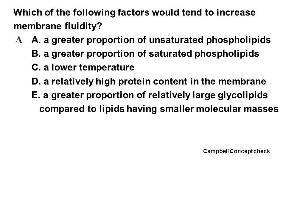 A Which of the following factors would tend to increase