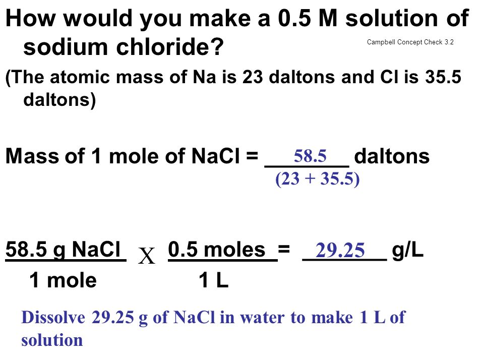 How would you make a 0.5 M solution of sodium chloride
