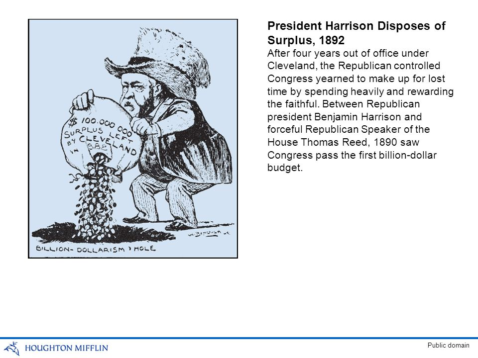 President Harrison Disposes of Surplus, 1892