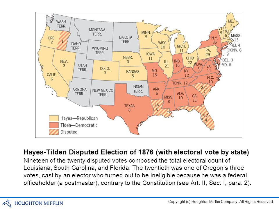 Hayes-Tilden Disputed Election of 1876 (with electoral vote by state)