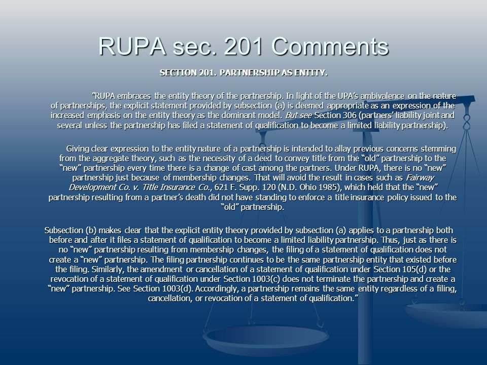 RUPA sec. 201 Comments
