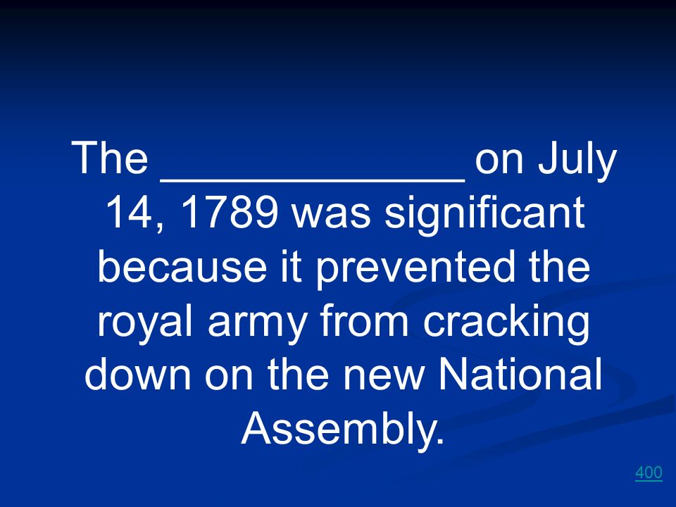 The ____________ on July 14, 1789 was significant because it prevented the royal army from cracking down on the new National Assembly.