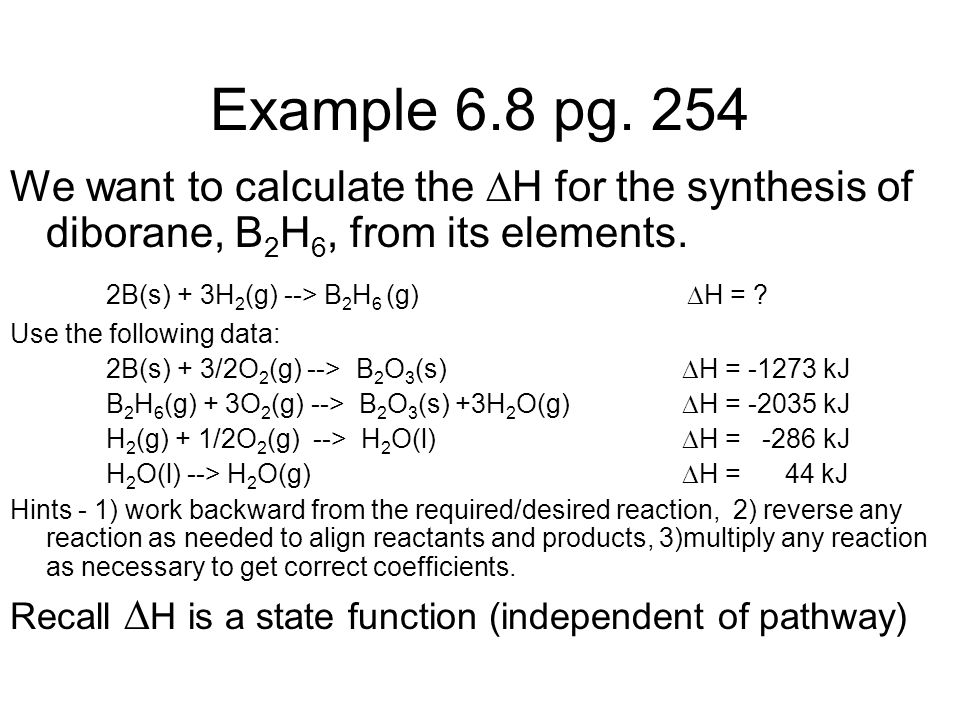 Example 6.8 pg. 254 We want to calculate the H for the synthesis of diborane, B2H6, from its elements.