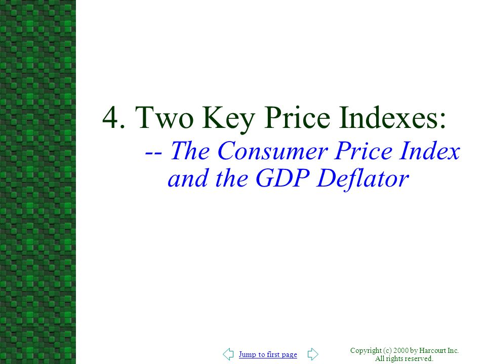 4. Two Key Price Indexes: -- The Consumer Price Index and the GDP Deflator