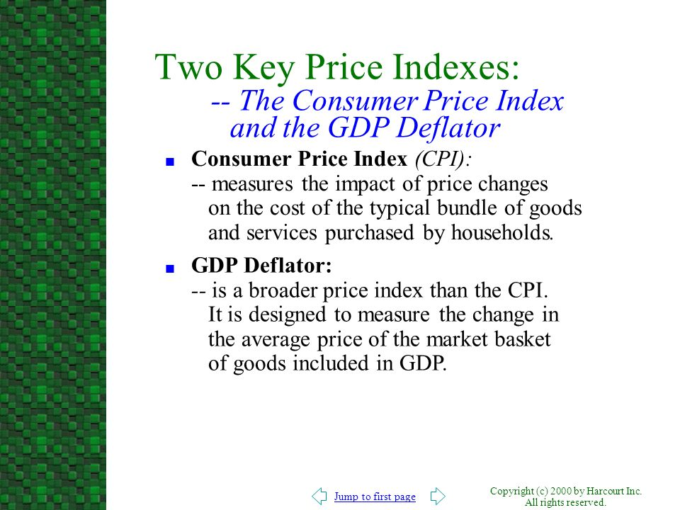 Two Key Price Indexes: -- The Consumer Price Index and the GDP Deflator