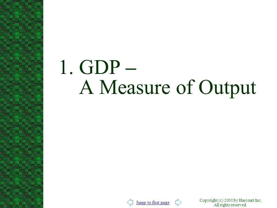 1. GDP – A Measure of Output