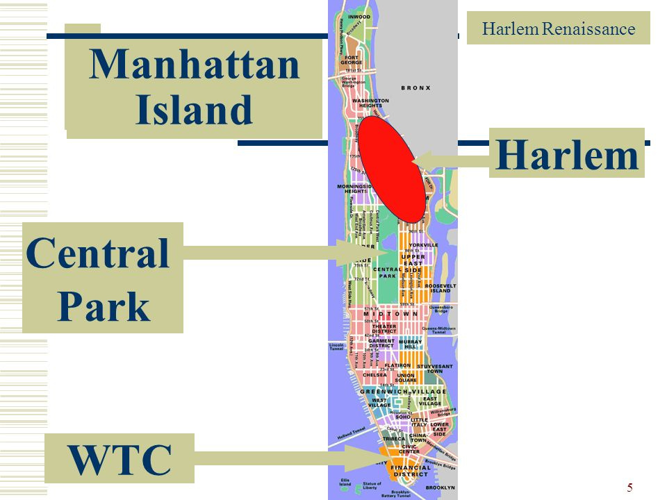 Manhattan Island Harlem Central Park WTC