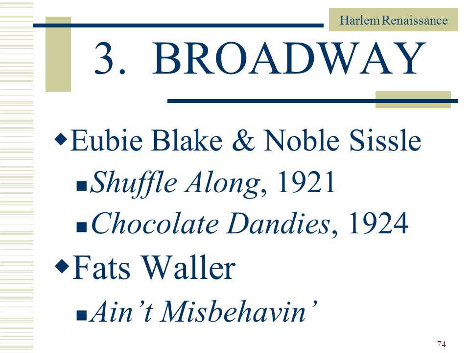 3. BROADWAY Fats Waller Eubie Blake & Noble Sissle Shuffle Along, 1921