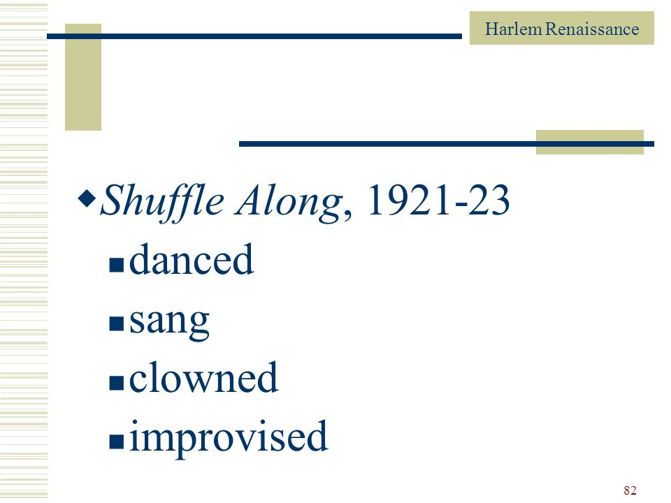 Shuffle Along, 1921-23 danced sang clowned improvised