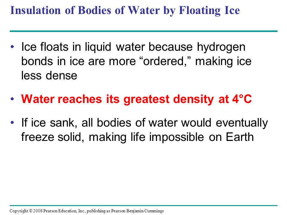 Insulation of Bodies of Water by Floating Ice