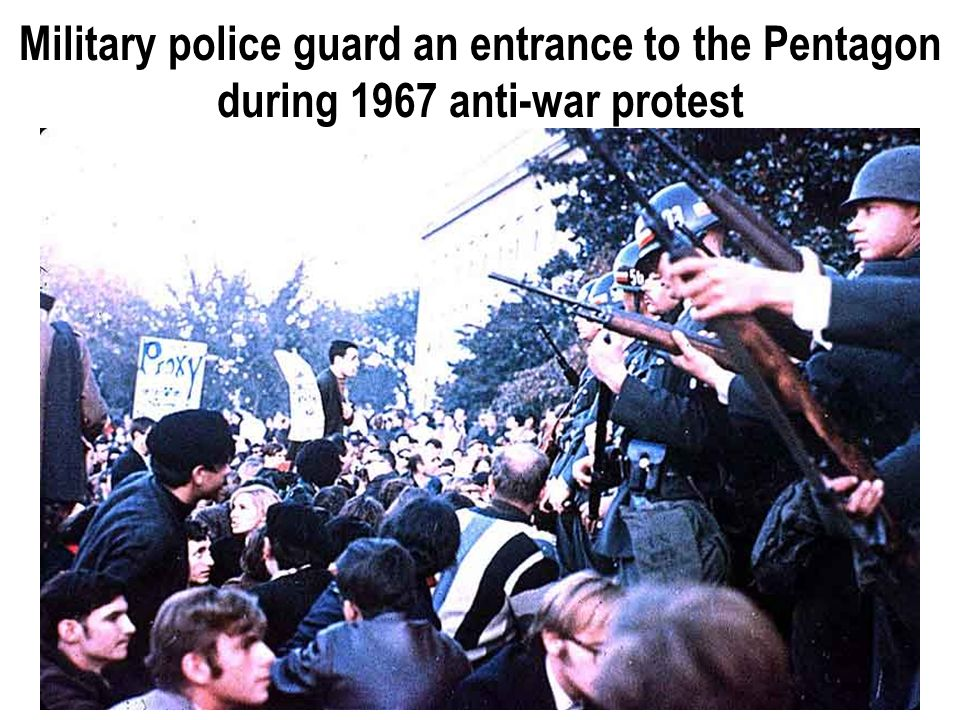Military police guard an entrance to the Pentagon during 1967 anti-war protest
