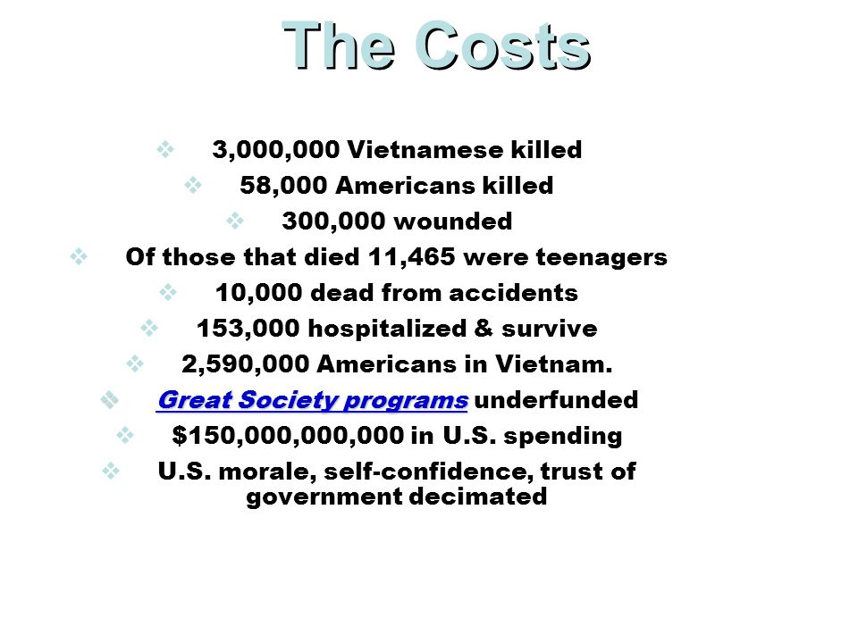 The Costs 3,000,000 Vietnamese killed 58,000 Americans killed