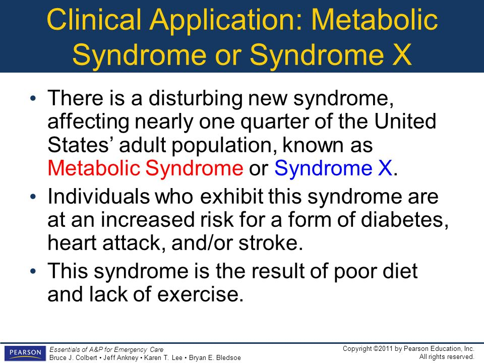 Clinical Application: Metabolic Syndrome or Syndrome X