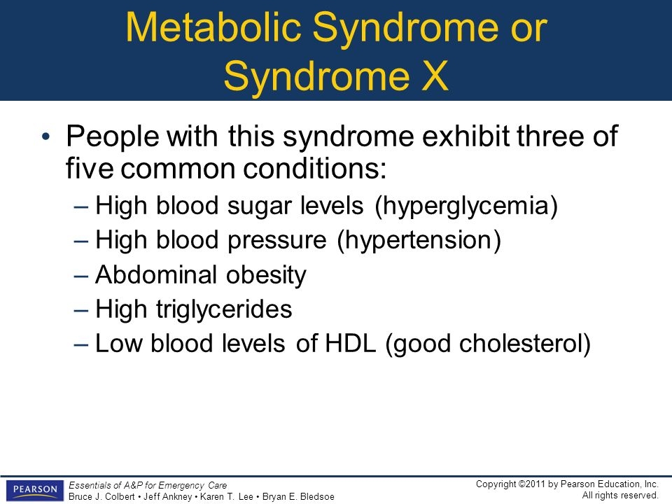 Metabolic Syndrome or Syndrome X