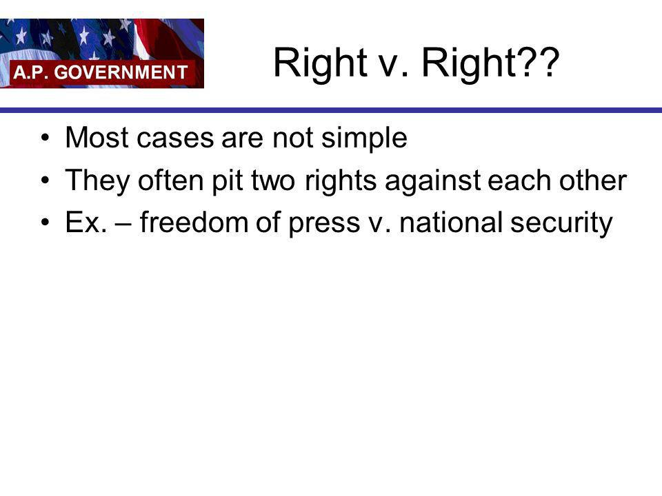 Right v. Right Most cases are not simple