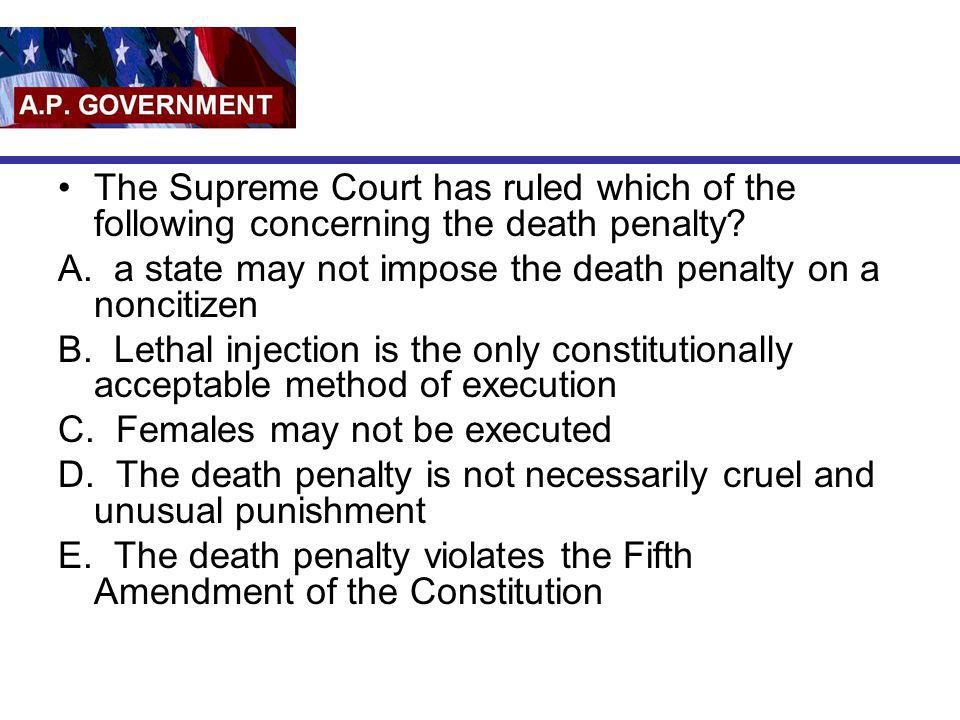 The Supreme Court has ruled which of the following concerning the death penalty