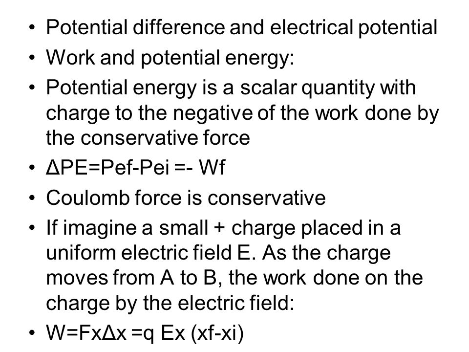 Potential difference and electrical potential