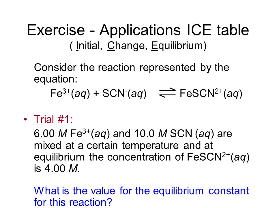 Exercise - Applications ICE table ( Initial, Change, Equilibrium)