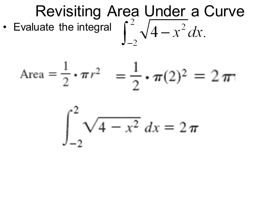 Revisiting Area Under a Curve