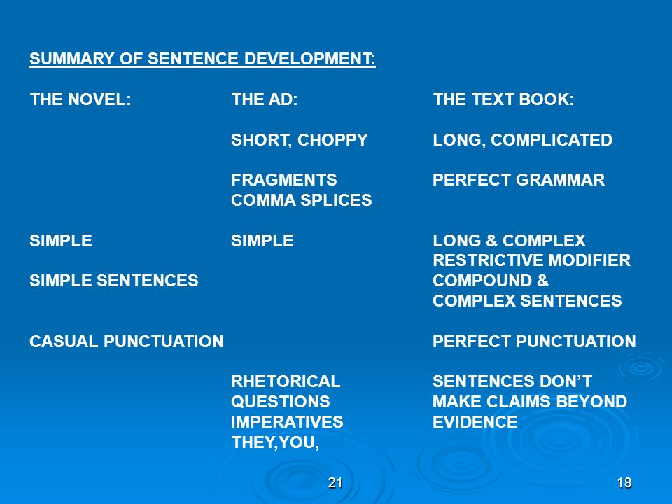 SUMMARY OF SENTENCE DEVELOPMENT: THE NOVEL: THE AD: THE TEXT BOOK:
