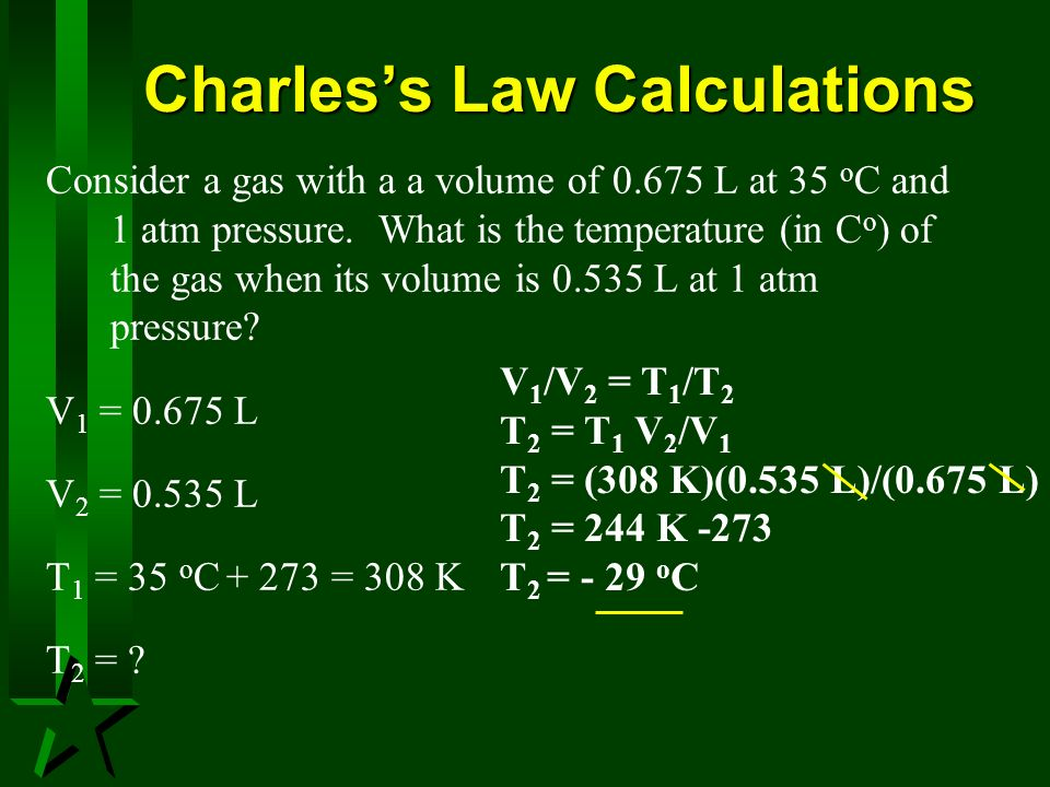 Charles's Law Calculations