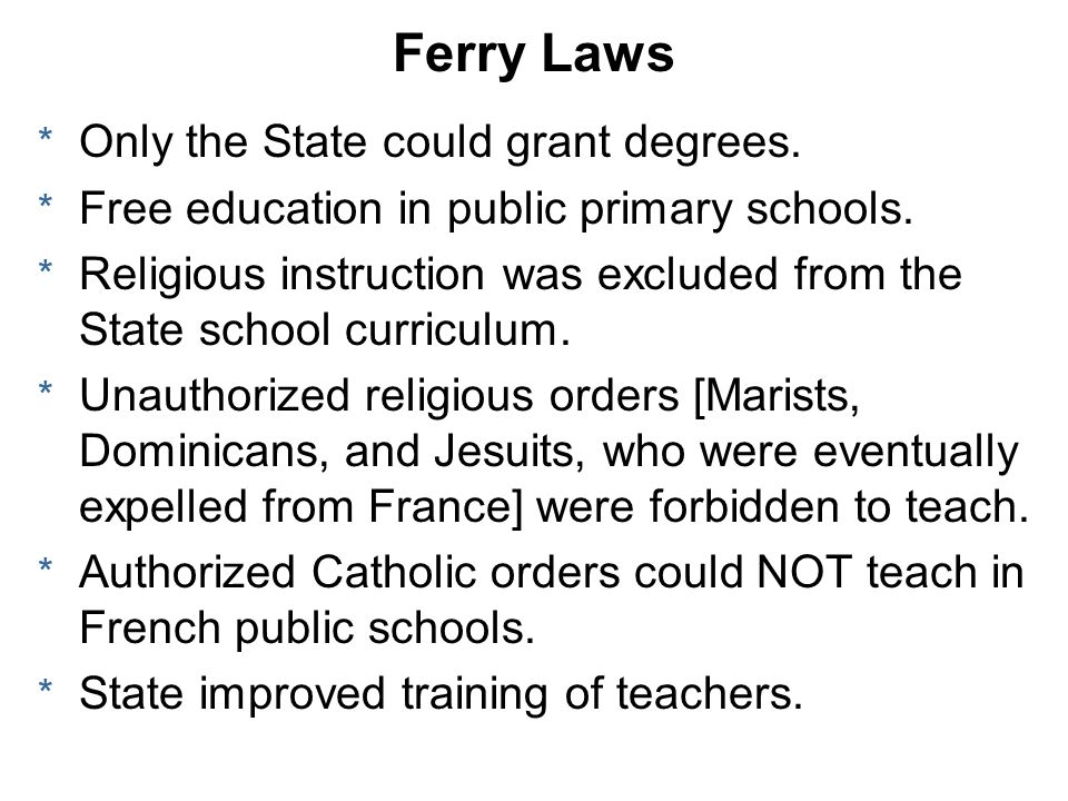 Ferry Laws Only the State could grant degrees.